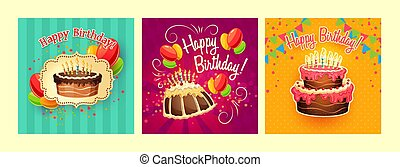 Collection of vector cartoon backgrounds with birthday cakes and candles
