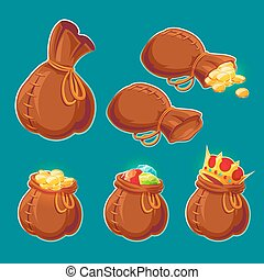 Collection of vector cartoon bags with gold coins and jewels