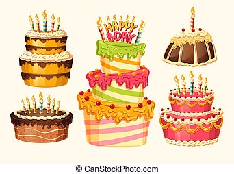 Collection of vector cartoon birthday cakes with candles.