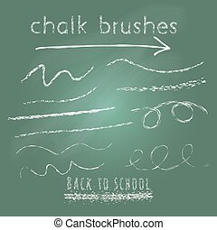 Collection of vector chalk art brushes.