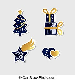 collection of vector christmas stickers