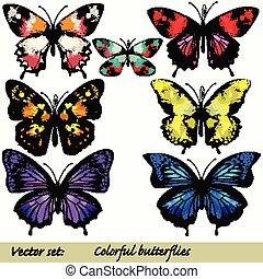 Collection of vector colorful realistic butterflies