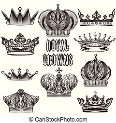 Collection of vector crowns for des