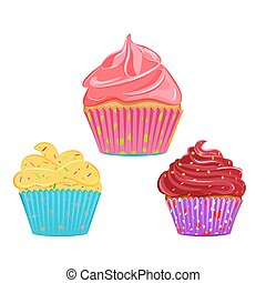 Collection of vector cupcakes, muffins