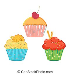 Collection of vector cupcakes