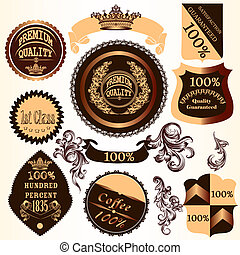 Collection of vector decorative badges and labels with ...