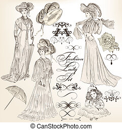 Collection of vector detailed fash - Vector set of...