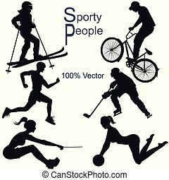 Collection of vector detailed sport people silhouettes