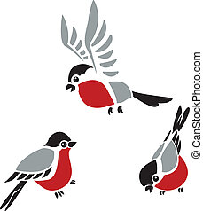 Collection of vector diffirent colorful images of Bullfinches