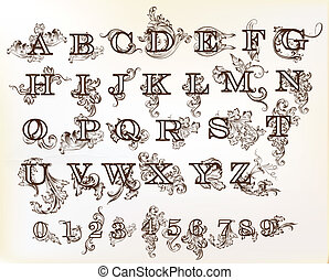 Collection of vector English ABC - Decorative English...