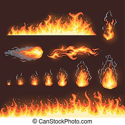 Collection of vector fire illustrations