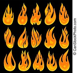 Collection of vector fires on a black background.