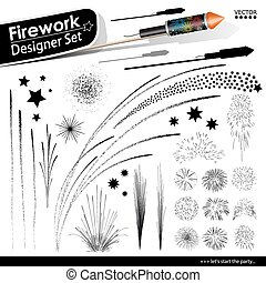 Collection of Vector Firework Rocket Explosion Effects - Design Templates Set