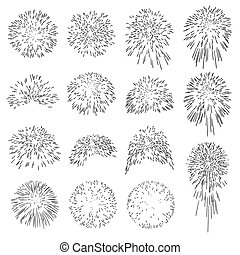 Collection of Vector Firework Rocket Explosion Sparks - Set