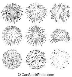 Collection of Vector Firework Rocket Explosion Sparks Set