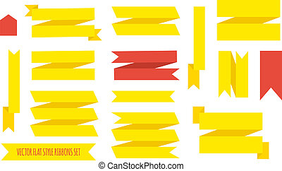 Collection of vector flat ribbons of different colors - Set...