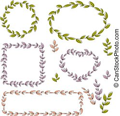 Collection of vector floral frames and design elements.