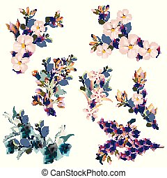 Collection of vector florals, spring styled flowers for design