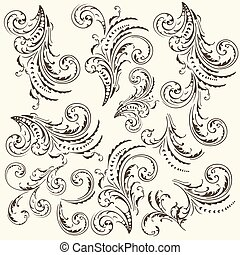 Collection of vector flourishes in vintage style.eps -...