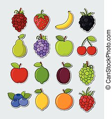 Collection of vector fruit stickers