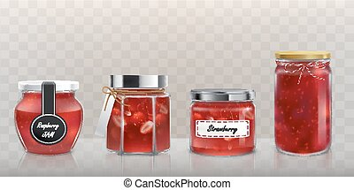 Collection of vector glass jars with jam in a realistic style