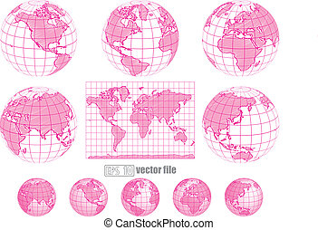 Collection of vector globes