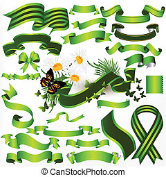 Collection of vector green ribbons
