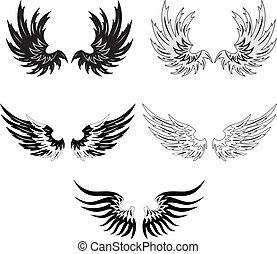 Collection of vector grunge wings