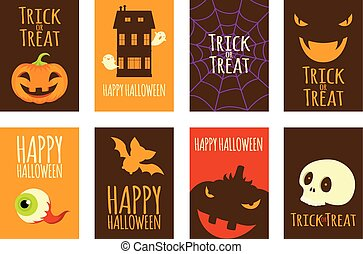 Collection of vector Halloween cards