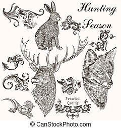 Collection of vector hand drawn animals and swirls