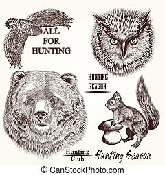 Collection of vector hand drawn animals.eps - Collection of...