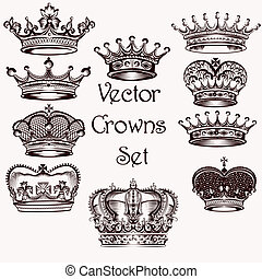 Collection of vector hand drawn crowns for design - Vector...