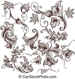 Collection of vector hand drawn floral swirls.eps