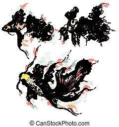 Collection of vector hand drawn goldfish in watercolor style painted by spots.eps