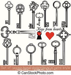 Collection of vector hand drawn keys set in vintage style
