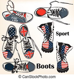 Collection of vector hand drawn sport boots with USA and British flags for design.eps