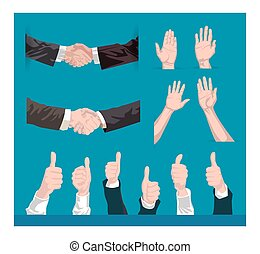 collection of vector hands shaking, holding up and liking,...