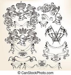 Collection of vector heraldic eleme