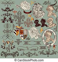 Collection of vector heraldic eleme - Vector set of luxury...