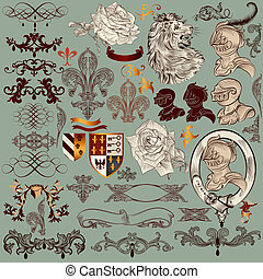 Collection of vector heraldic elements and page decorations...