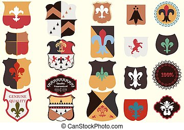 Collection of vector heraldic elements in vintage style.eps...