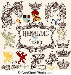 Collection of vector heraldic elements for design - Vector...
