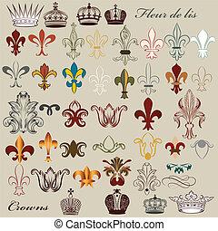 Collection of vector heraldic fleur - Vector set of luxury...