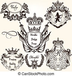 Collection of vector heraldic frame