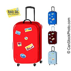 Collection of vector illustrations of travel bags