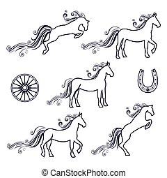 Collection of vector illustrations of horses