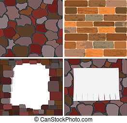 Collection of vector images of a brick wall