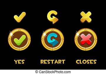 Collection of vector isolated golden buttons and icons yes, restart, closed.