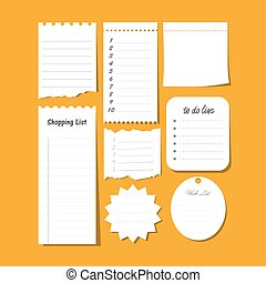 Collection of vector isolated to do list, wish list, blank ...