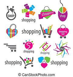 collection of vector logos and shopping discounts basket